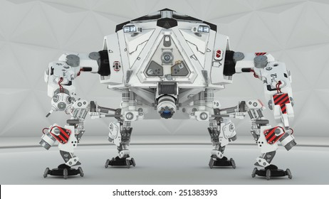 Futuristic four leg robot on white background
