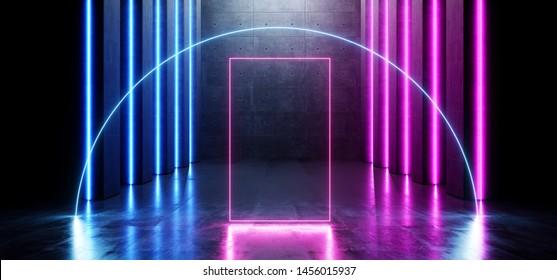 Futuristic Gallery Underground Room Glowing Arc Circle Neon Laser Beams Purple Blue Grunge Concrete Cement Dark Empty Sci Fi Futuristic Garage Tunnel Corridor Hallway Stage 3D Rendering Illustration