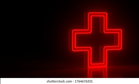 Futuristic glowing red neon medical cross symbol on black dark background with blurred reflection. Elements of medical set. 3d rendering