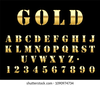 Futuristic gold metal font letters a to z and numbers 0 to 9