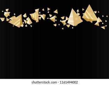 Futuristic  gold pyramids on black background. 3D illustration.