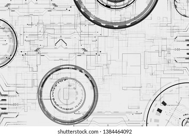Futuristic grid line circle diagrams interface graphics on white hi tech geometry patters for digital technology background and wallpapers.