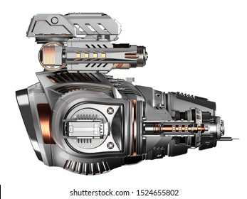 Futuristic gunship or very detailed flying military machine with heavy wepons. Side view isolated on white background. 3D illustration