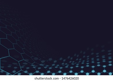 Futuristic hexagon background sciences illustration. HUD element. Technology concept. 3d landscape. Big data futuristic abstract background