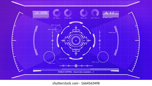 Futuristic hud graphic from neural networks AI comperter search engine screen ,illustration picture.