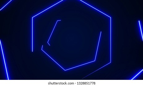 Futuristic HUD hexagon tunnel VJ background. 4K Neon motion graphics for LED, TV, music, show, concerts. Bright retro cosmic night club 3D illustration with data flow concept for speed and connection