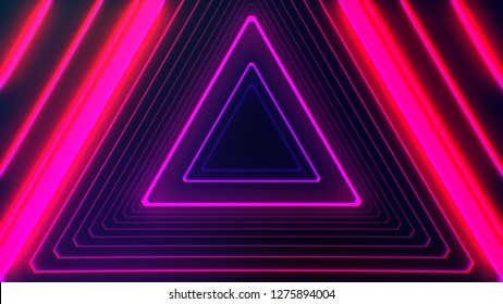 Futuristic HUD pink purple triangle tunnel VJ. 4K Neon motion graphics for LED TV, music, show, concerts. Bright retro cosmic night club 3D illustration with data flow concept for speed and connection