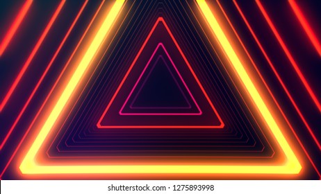 Futuristic HUD red orange triangle tunnel VJ. 4K Neon motion graphics for LED, TV, music, show, concerts. Bright retro cosmic night club 3D illustration with data flow concept for speed and connection