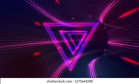 Futuristic HUD red purple triangle tunnel VJ. 4K Neon motion graphics for LED, TV, music, show, concerts. Bright retro cosmic night club 3D illustration with data flow concept for speed and connection