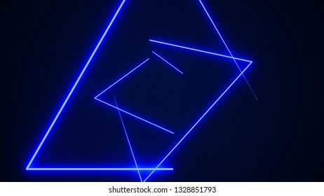 Futuristic HUD triangle tunnel VJ background. 4K Neon motion graphics for LED, TV, music, show, concerts. Bright retro cosmic night club 3D illustration with data flow concept for speed and connection