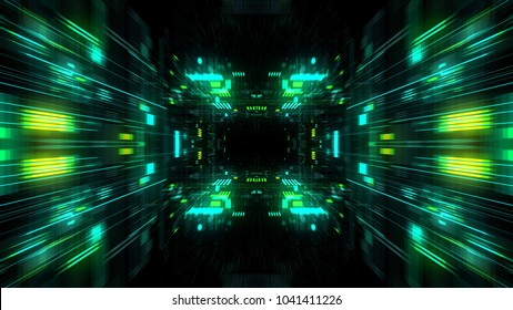 Futuristic HUD tunnel. HUB display screens for tech titles and background, news headline business intro. Motion graphic for abstract data center, server, internet, speed. 3D rendering