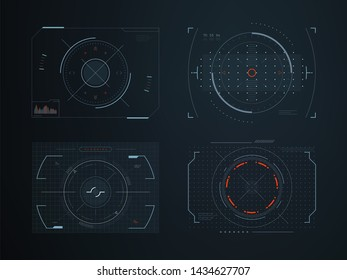 Futuristic hud virtual control panels. Hologram touch screen high tech design. Panel system interactive, gaming indicator illustration