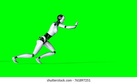 Futuristic humanoid female robot isolate on green screen. Realistic 3d rendering.