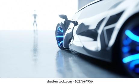 Futuristic humanoid female robot is walkihg to car. Concept of future. 3d rendering.