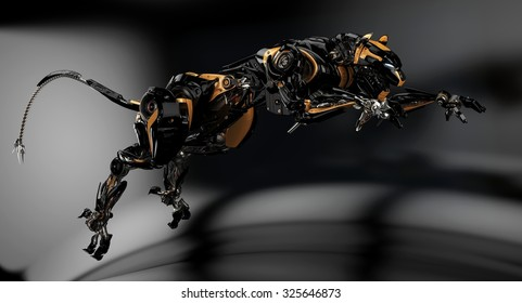 Futuristic hunting panther unit. Dark studio shot. Jumping cyber panther 3d rendering