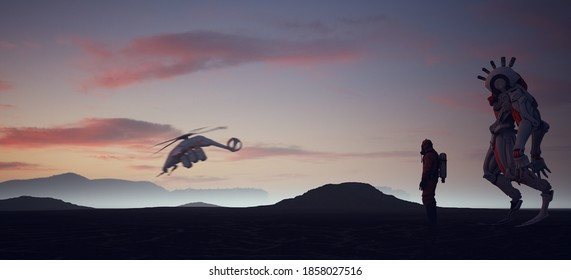 Futuristic Icelandic Landscape with Man in a Hazmat Suit Sci-Fi Helicopter And Large Robot Sunrise 3d illustration render