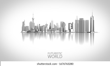 Futuristic Innovation City Landmark isolated on the white background. 3D Render City landscape for Future city concept.