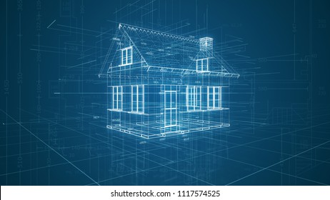 futuristic interface of a cad software, house wireframe model (3d render)