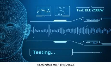 futuristische Schnittstelle für den Hörtest oder den audiometrischen Test, Hörverlust (3D-Rendering)