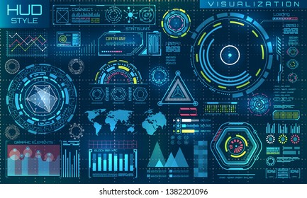 Futuristic Interface HUD Style and Infographic Elements. Abstract Virtual Graphic Touch UI - Illustration raster