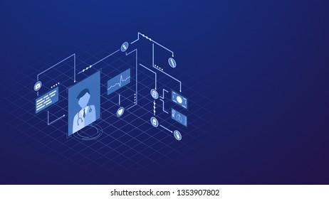 futuristic interface for telemedicine, online medical consultation (3d render)