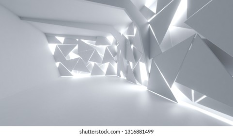 Futuristic Interior decorate white abstract Triangle sheet to empty room  with natural light, 3D Rendering