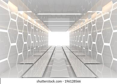 Futuristic Interior decorate white hexagon wall empty room with reflective materials