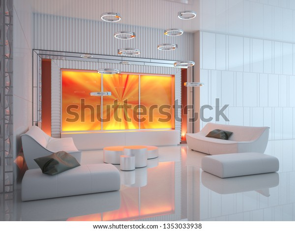 Futuristic Interior Design Comfortable Living Room Stock ...