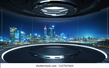 Futuristic interior design empty space room with large windows and city urban landscape . 3D rendering and real images mixed media .