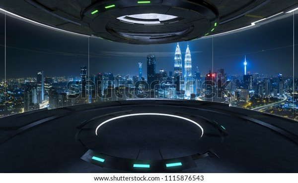 Futuristic interior design empty space room with large windows and city urban landscape . 3d illustration rendering . Mixed media .