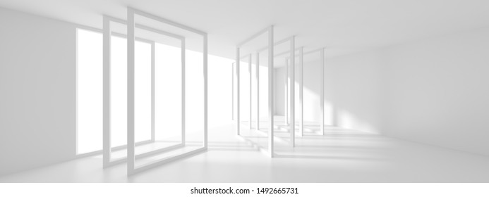 Futuristic Interior Design. White Room with Window. Minimalistic Abstract Architecture Background. 3d Illustration