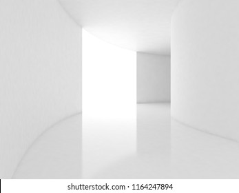 Futuristic Interior empty room with abstact curve wall., 3D Rendering