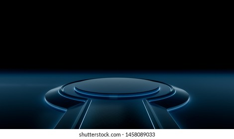 Futuristic interior with empty stage. Modern blank platform Future background. Technology Sci-fi hi tech concept. 3d rendering