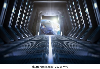 Futuristic interior of a space station with a view of Earth