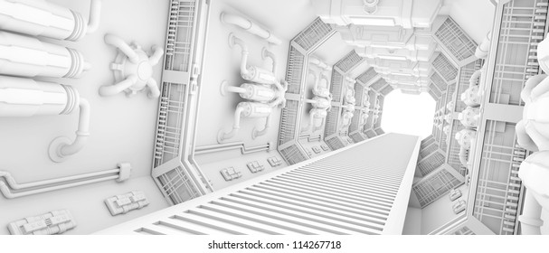 futuristic Interior of a spaceship clean white