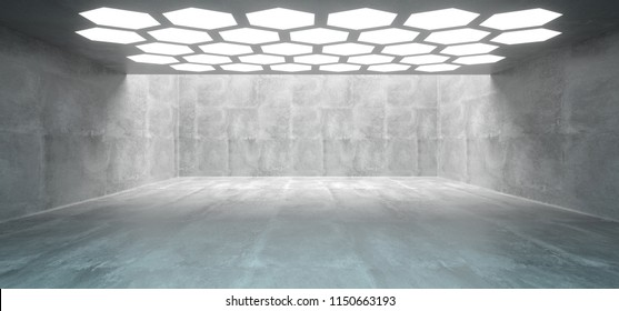 Futuristic Interior Underground Concrete Room With Hexagon Shaped White Lights On The Ceiling And With Empty Space Wall 3D Rendering  Illustration