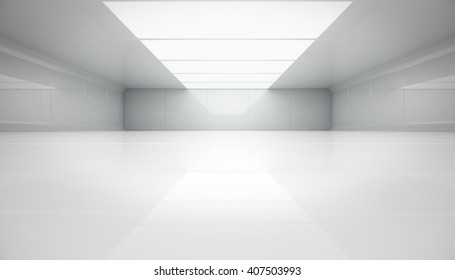 Futuristic interior view. Futuristic background. Abstract background, 3d Rendering.