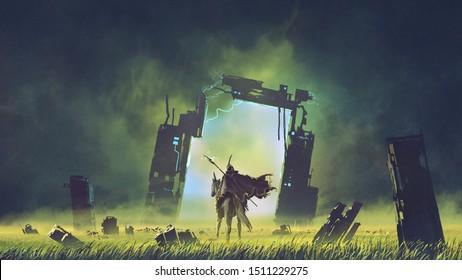 der futuristische Ritter auf einem schwarzfarbenen Einhorn, das das zerbrochene Portal in eine andere Welt betritt, digitale Kunststil, Illustrationsmalerei