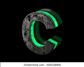 Futuristic letter C - volumetric rusty metal letter  with green light outline glowing in the dark 3D render