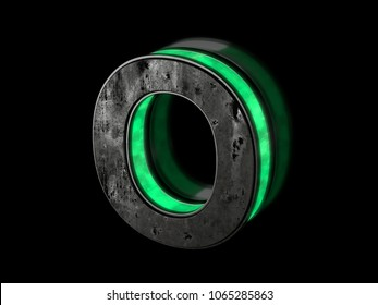 Futuristic letter O - volumetric rusty metal letter with green light outline glowing in the dark 3D render