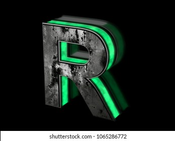 Futuristic letter R - volumetric rusty metal letter with green light outline glowing in the dark 3D render