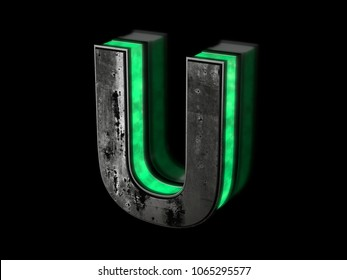 Futuristic letter U - volumetric rusty metal letter with green light outline glowing in the dark 3D render