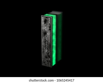 Futuristic letter I - volumetric rusty metal letter  with green light outline glowing in the dark 3D render