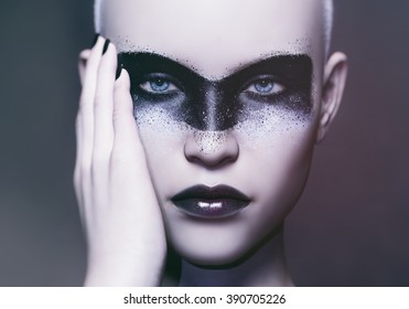 futuristic makeup art and portrait of a fashion model