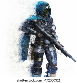 Futuristic Marine Soldier on a white background with splatter dispersion effect. 3d rendering