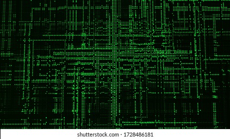 Futuristic matrix particles. Abstract technology background. Big data digital code. 3d