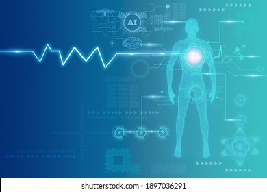 Futuristic medical and Science and innovation for people,with Wireframe human body,3D model polygonal dot and line,virtual scan anatomy body,Artificial intelligence or AI for deep learning