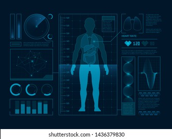 Futuristic medical symbols of scan for web interface. Visualization of digital human verify.   ui data infographic illustration