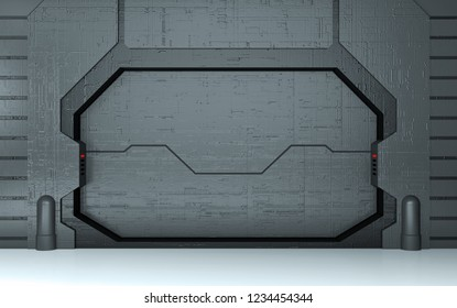 Futuristic metallic door 3D render