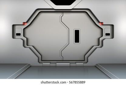 Futuristic metallic door, gate or entrance in spaceship interior 3D rendering